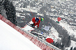 A skier in action during the Men's Downhill of the Alpine FIS Ski World Cup on 24/01/2015 in Kitzbuehel, Austria.