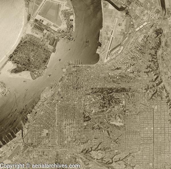 historical aerial photograph of San Diego, California, 1956