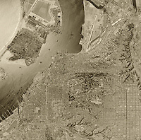 historical aerial photograph of San Diego, California, 1956