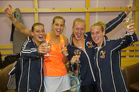 Moskou, Russia, Februari 7, 2016,  Fed Cup Russia-Netherlands, Dutch Team celebrates in the dressing room, Ltr: Cindy Burger, Arantxa Rus, Kiki Bertens and Richel Hogenkamp<br /> Photo: Tennisimages/Henk Koster