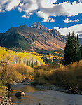 Mt Sneffels and stream in autumn, Ridgeway, Colorado, John offers autumn photo tours throughout Colorado.