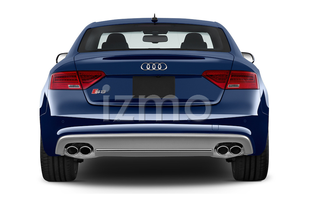 Straight rear view of 2017 Audi S5-Coupe 3.0T-quattro-manual 2 Door Coupe Rear View  stock images