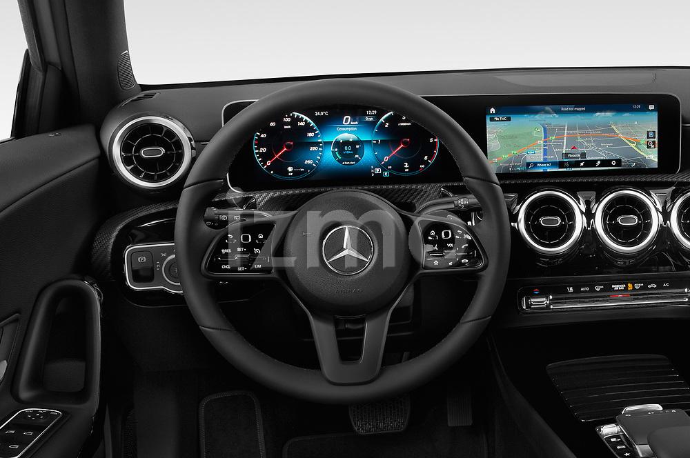 Car pictures of steering wheel view of a 2019 Mercedes Benz A Class Progressive 5 Door Hatchback
