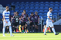 24th April 2021; The Kiyan Prince Foundation Stadium, London, England; English Football League Championship Football, Queen Park Rangers versus Norwich; Max Aaron of Norwich City celebrates hs goal with Todd Cantwell for 0-2 in the 57th minute
