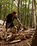 June 30, 2016. Blacksburg, Virginia. <br />  At his home outside Blacksburg, Marc Edwards splits fallen wood reclaimed from the surrounding national forest under permit from the Forest Service. The house, where he lives with his wife and two children is fully heated with wood.<br /> Marc Edwards is a civil engineering/environmental engineer and the Charles P. Lunsford Professor of Civil and Environmental Engineering at Virginia Tech. He is an expert in water quality and corrosion, and his work in Washington DC  and in Flint, Michigan helped to expose high levels of lead contamination in the water supplies of those two cities, triggering investigations into the cause of the pollution.