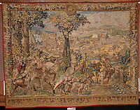 """Barent Van Orley,  (ca.1488-1541) Tapestry depicting the hunts of Maximilian, called the """"Belles chasses de Guise"""": April, Sign of Taurus: return from the falcon hunt. Made in Brussels, ca. 1530 Louvre, Paris, France,  Digital Print On Canvas  Image Size 68"""" high  x   98"""" Plus Burgundy Border for Stretching"""