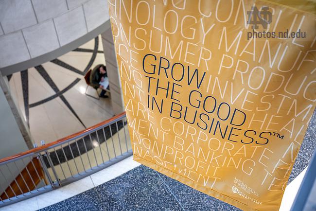 November 13, 2020; Banner in Mendoza College of Business atrium (Photo by Matt Cashore/University of Notre Dame)