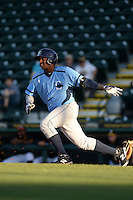 Charlotte Stone Crabs outfielder Yoel Araujo (28) at bat during a game against the Bradenton Marauders on April 22, 2015 at McKechnie Field in Bradenton, Florida.  Bradenton defeated Charlotte 7-6.  (Mike Janes/Four Seam Images)