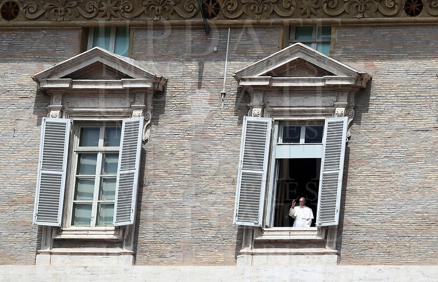 Pope Francis delivers his blessing from the window of the Apostolic Palace overlooking an empty St Peter' square, closed off to the public due to the novel coronavirus, COVID-19, pandemic, after his live-streamed Angelus prayer on May 10, 2020 at the Vatican. <br /> UPDATE IMAGES PRESS/Isabella Bonotto<br /> <br /> STRICTLY ONLY FOR EDITORIAL USE