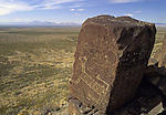Three River Petroglyph Site, near Tularosa, New Mexico, USA, an outstanding example of prehistoric Native American Indian rock art carved with stone tools by the Jornada Mogollon people in approximately 900 AD.