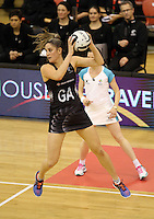 14.09.2016 Silver Ferns Te Paea Selby-Rickit in action during the Taini Jamison netball match between the Silver Ferns and Jamaica played at Arena Manawatu in Palmerston North. Mandatory Photo Credit ©Michael Bradley.