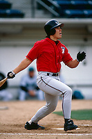 Larry Barnes of the Lake Elsinore Storm participates in a minor league baseball game during the 1998 season at The Epicenter in Rancho Cucamonga, California. (Larry Goren/Four Seam Images)