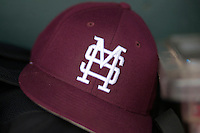 Mississippi State Bulldogs hat before Game 1 of the 2013 Men's College World Series Finals against the UCLA Bruins on June 24, 2013 at TD Ameritrade Park in Omaha, Nebraska. The Bruins defeated the Bulldogs 3-1, taking a 1-0 lead in the best of 3 series. (Andrew Woolley/Four Seam Images)