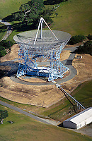 aerial photograph of the Stanford Research Institute (SRI) radio telescope, California