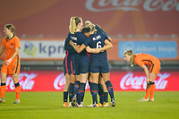 BREDA, NETHERLANDS - NOVEMBER 27: Kristie Mewis #22 of the United States scores a goal and celebrates with her sister Samantha Mewis #3 and the USWNT during a game between Netherlands and USWNT at Rat Verlegh Stadion on November 27, 2020 in Breda, Netherlands.