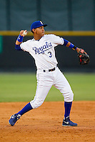 Burlington Royals third baseman Mauricio Ramos (3) makes a throw to first base against the Pulaski Mariners at Burlington Athletic Park on June20 2013 in Burlington, North Carolina.  The Royals defeated the Mariners 2-1 in 13 innings.  (Brian Westerholt/Four Seam Images)