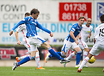 St Johnstone v Inverness Caley Thistle...08.08.15...SPFL..McDiarmid Park, Perth.<br /> Murray Davidson's shot is deflected wide<br /> Picture by Graeme Hart.<br /> Copyright Perthshire Picture Agency<br /> Tel: 01738 623350  Mobile: 07990 594431