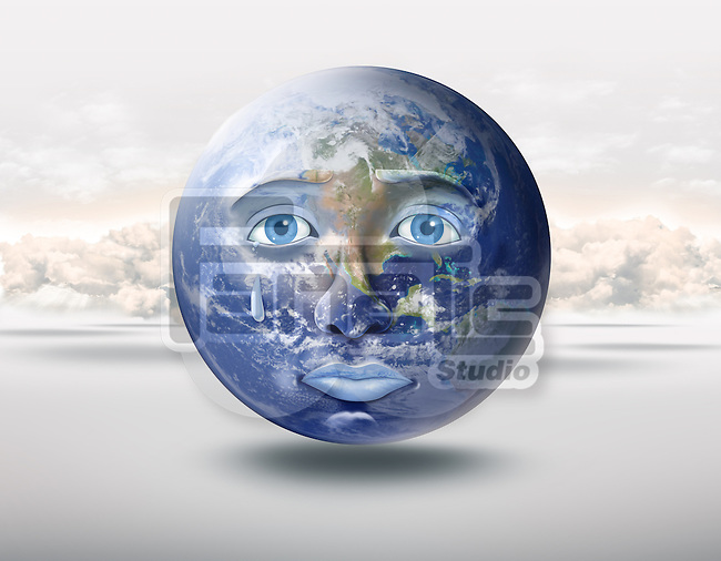 Illustrative image of globe crying representing stress