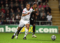 Pictured L-R: Darren Pratley of Swansea closely marked by Mikele Leigertwood of Queens Park Rangers.<br /> Re: Coca Cola Championship, Swansea City Football Club v Queens Park Rangers at the Liberty Stadium, Swansea, south Wales 21st October 2008.