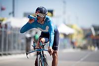 Andrey Amador (CRC/Team Movistar) rolling over the finish line<br /> <br /> Stage 13 (ITT): Pau to Pau(27km)<br /> 106th Tour de France 2019 (2.UWT)<br /> <br /> ©kramon