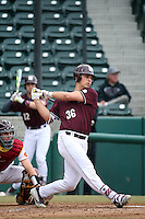 Nathaniel Lowe (36) of the Mississippi State Bulldogs bats against the Southern California Trojans at Dedeaux Field on March 5, 2016 in Los Angeles, California. Mississippi State defeated Southern California , 8-7. (Larry Goren/Four Seam Images)