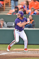 Clemson Tigers left fielder Reed Rohlman (26) awaits a pitch during a game against the Maine Black Bears at Doug Kingsmore Stadium on February 20, 2016 in Clemson, South Carolina. The Tigers defeated the Black Bears 9-4. (Tony Farlow/Four Seam Images)
