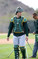 Landon Powell - Oakland Athletics - 2009 spring training.Photo by:  Bill Mitchell/Four Seam Images