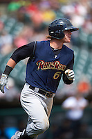 Scranton/Wilkes-Barre RailRiders center fielder Ben Gamel (6) runs to first during a game against the Buffalo Bisons on July 2, 2016 at Coca-Cola Field in Buffalo, New York.  Scranton defeated Buffalo 5-1.  (Mike Janes/Four Seam Images)