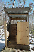 The privy at Ore Hill Shelter located along the Appalachian Trail (Ore Hill Trail) in Warren, New Hampshire. Ore Hill Shelter was burned down by arsonists in October 2011.
