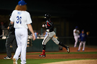 Lake Elsinore Storm center fielder Edward Olivares (11) rounds the bases after hitting a home run off Dustin May (36) during a California League game against the Rancho Cucamonga Quakes at LoanMart Field on May 19, 2018 in Rancho Cucamonga, California. Lake Elsinore defeated Rancho Cucamonga 10-7. (Zachary Lucy/Four Seam Images)