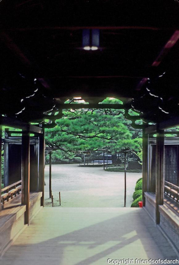 Kyoto: Pedestrian Bridge, Heian Shrine. Photo '81.