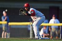 Brooklyn Cyclones first baseman Pedro Perez (10) holds a runner on during a game against the Batavia Muckdogs on August 9, 2014 at Dwyer Stadium in Batavia, New York.  Batavia defeated Brooklyn 4-2.  (Mike Janes/Four Seam Images)
