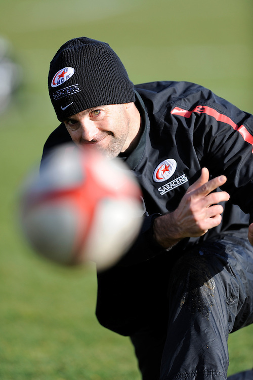 20130131 Copyright onEdition 2013©.Free for editorial use image, please credit: onEdition..Neil De Kock passes during the Saracens Captains Run at Old Albanians Rugby Club, St Albans on Thursday 31st January 2013 (Photo by Rob Munro)..For press contacts contact: Sam Feasey at brandRapport on M: +44 (0)7717 757114 E: SFeasey@brand-rapport.com..If you require a higher resolution image or you have any other onEdition photographic enquiries, please contact onEdition on 0845 900 2 900 or email info@onEdition.com.This image is copyright onEdition 2013©..This image has been supplied by onEdition and must be credited onEdition. The author is asserting his full Moral rights in relation to the publication of this image. Rights for onward transmission of any image or file is not granted or implied. Changing or deleting Copyright information is illegal as specified in the Copyright, Design and Patents Act 1988. If you are in any way unsure of your right to publish this image please contact onEdition on 0845 900 2 900 or email info@onEdition.com