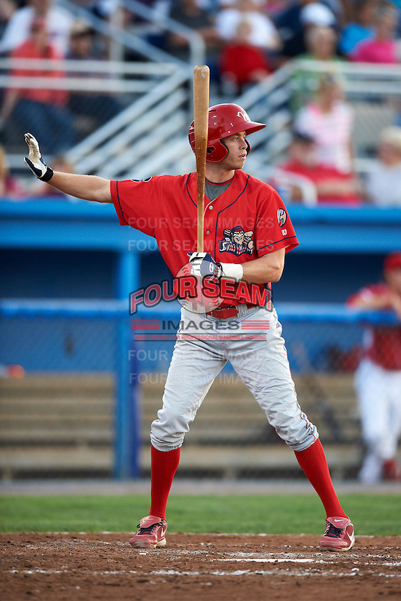 Williamsport Crosscutters infielder Tyler Greene #13 calls for time during a NY-Penn League game against the Batavia Muckdogs at Dwyer Stadium on August 24, 2012 in Batavia, New York.  Williamsport defeated Batavia 7-4.  (Mike Janes/Four Seam Images)
