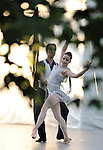 Abi Stafford and Jared Angle from Tom Gold Dance on stage in the garden  at the Pocantico Center of the Rockefeller Brothers Fund