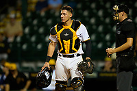 Bradenton Marauders catcher Abrahan Gutierrez (27) during Game Two of the Low-A Southeast Championship Series against the Tampa Tarpons on September 22, 2021 at LECOM Park in Bradenton, Florida.  (Mike Janes/Four Seam Images)
