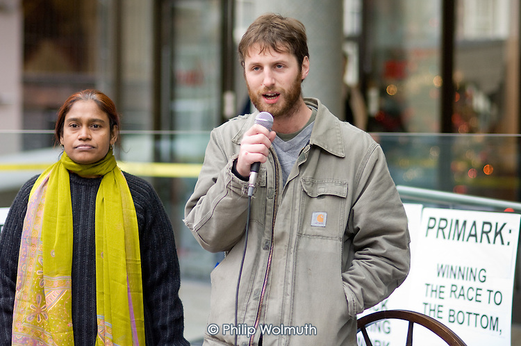 Shahida Sarkar, President of the National Garment Workers Federation of Bangladesh, and Stuart Jordan of No Sweat picket Primark AGM being held at the TUC's Congress House, London.