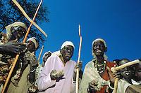 Sudan. South Sudan. Bahr El Ghazal. Mayen Abun. Dinka women celebrating the visit of SPLA ( Sudanese People Liberation Army) commandant Salva, Chief of General Staff. Dinkas are mostly christian and animist believers.  © Didier Ruef.