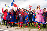 Local fans in traditional dress wait at the roadside for the race during Stage 1 of the 2018 Artic Race of Norway, running 184km from Vadso to Kirkenes, Norway. 16th August 2018. <br /> <br /> Picture: ASO/Rune Dahl | Cyclefile<br /> All photos usage must carry mandatory copyright credit (© Cyclefile | ASO/Rune Dahl)