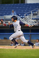 Brooklyn Cyclones designated hitter Ali Sanchez (4) at bat during a game against the Batavia Muckdogs on July 5, 2016 at Dwyer Stadium in Batavia, New York.  Brooklyn defeated Batavia 5-1.  (Mike Janes/Four Seam Images)
