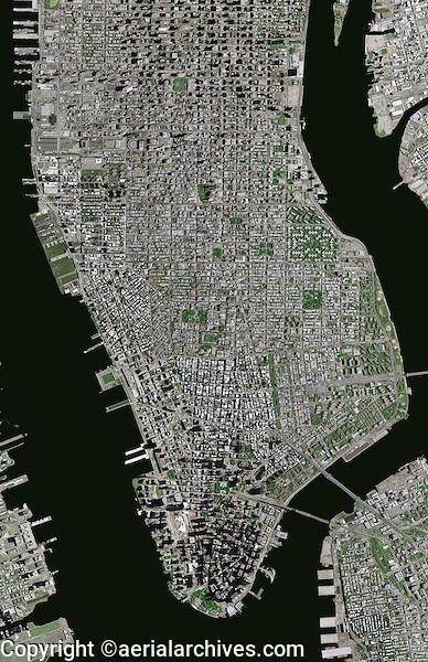 aerial photo map of Manhattan, New York City