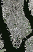 aerial photo map of Manhattan, New York City