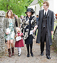 LADY ANNE GLENCONNER (BLACK HAT), LEAVES TRAQUAIR KIRK, KIRKHOUSE, AFTER THE MEMORIAL SERVICE FOR LORD COLIN CHRISTOPHER PAGET GLENCONNER