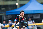 #13 Ririna Kanemitisu of Japan delivers during the BFA Women's Baseball Asian Cup match between South Korea and Japan at Sai Tso Wan Recreation Ground on September 2, 2017 in Hong Kong. Photo by Marcio Rodrigo Machado / Power Sport Images