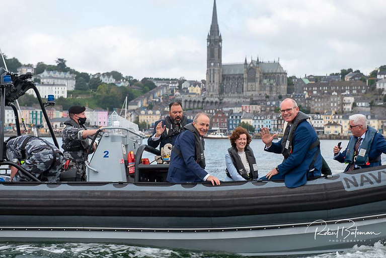 An Taoiseach Micheál Martin andMinister for Foreign Affairs and Minister for Defence Simon Coveney aboard a Navy RIB with dignitaries hosted by Royal Cork Yacht Club Admiral Colin Morehead for the 300th celebrations