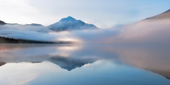 A glorious sunrise on Eklutna Lake, Alaska.