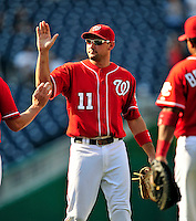 23 August 2009: Washington Nationals' All-Star third baseman Ryan Zimmerman celebrates victory over the Milwaukee Brewers at Nationals Park in Washington, DC. The Nationals defeated the Brewers 8-3 to take the third game of their four-game series, snapping a five games losing streak. Mandatory Credit: Ed Wolfstein Photo