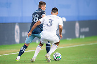 LAKE BUENA VISTA, FL - JULY 23: Jake Nerwinski #28 of Vancouver Whitecaps FC dribbles the ball during a game between Chicago Fire and Vancouver Whitecaps at Wide World of Sports on July 23, 2020 in Lake Buena Vista, Florida.