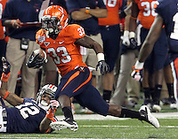 ATLANTA, GA - DECEMBER 31: Perry Jones #33 of the Virginia Cavaliers runs past Auburn Tiger defenders during the 2011 Chick Fil-A Bowl at the Georgia Dome on December 31, 2011 in Atlanta, Georgia. Auburn defeated Virginia 43-24. (Photo by Andrew Shurtleff/Getty Images) *** Local Caption *** Perry Jones