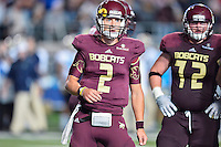 Texas State quarterback Tyler Jones (2) looks towards the sideline for a play call during NCAA Football game, Saturday, September 13, 2014 in San Marcos, Tex. Navy defeated Texas State 35-21.(Mo Khursheed/TFV Media via AP Images)